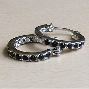 Vintage sterling & crystal hoop earrings